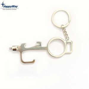Factory Price Wholesale Hands Free Zero Touch Stylus Door Opener Keychain