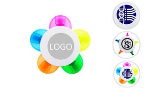 Custom Logo Flower Shape 5 Color Highlighter