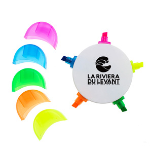 plastic 5 colored highlighter pen for promotion
