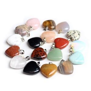 Charm Nature Stone Crystal Heart Pendant