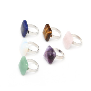 Wholesale Natural Crystal Square Shape Stone Ring