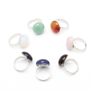Natural Lovely Crystal Ball Shape Stones Ring