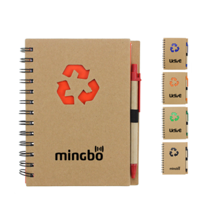 Promotional Recycled Notepad With Pen, MOQ 100 PCS 0703034 One Year Quality Warranty