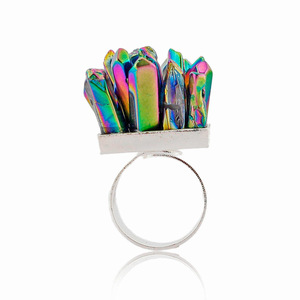 Novelty Fashion Colorful Crystal Point Rainbow Ring