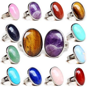 Natural Crystal Oval Shape Stone Ring