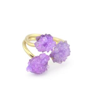 Natural Crystal Flower Shape Stones Jump Ring