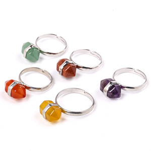 Wholesale Colorful Natural Hexagonal Crystal Stone Ring