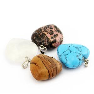 Natural Crystal Heart Shape Stones Pendants