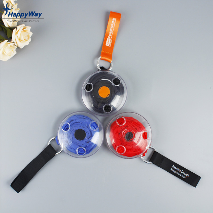 Eco friendly Reusable Folding Disc Shopping Bag To Roll Up