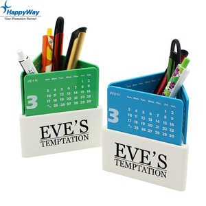 Office Desktop Pen Holder Calendar With Custom Logo Printing