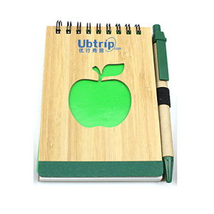 Bamboo Spiral Notepad With Logo Pen, MOQ 1000 PCS 0703047 One Year Quality Warranty