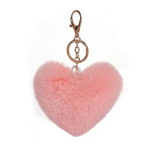 Heart Shape Faux Rabbit Fur Key Chain