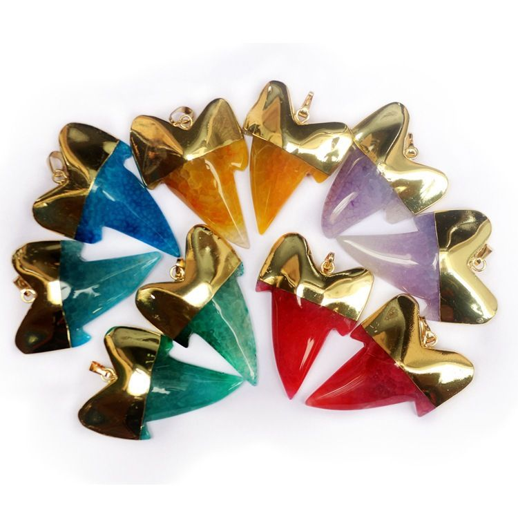 Crystal Stone Shark Tooth Pendants Necklace