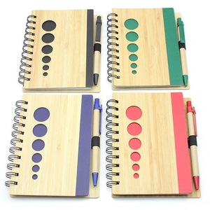 Logo Imprint Bamboo Cover Notepad With Pen, MOQ 500 PCS 0703025 One Year Quality Warranty