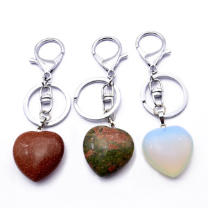 Natural Crystal Heart Shape Stones Keychain